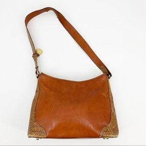 Vintage Brahmin Cognac Alligator Satchel Bag Purse